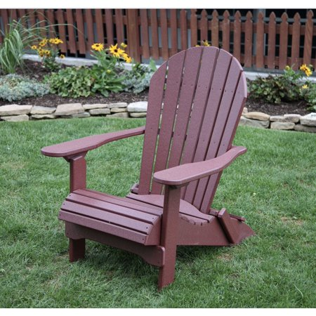 Cherry Wood POLY LUMBER Rolled Seating Heavy Duty EVERLASTING Lifetime PolyTuf HDPE AMISH CRAFTED Folding Adirondack Chair ()