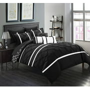 Chic Home 10-Piece Edney Pinch Pleated Ruffled and Reversible Geometric Design Printed King Bed In a Bag Comforter Set Black With sheet set