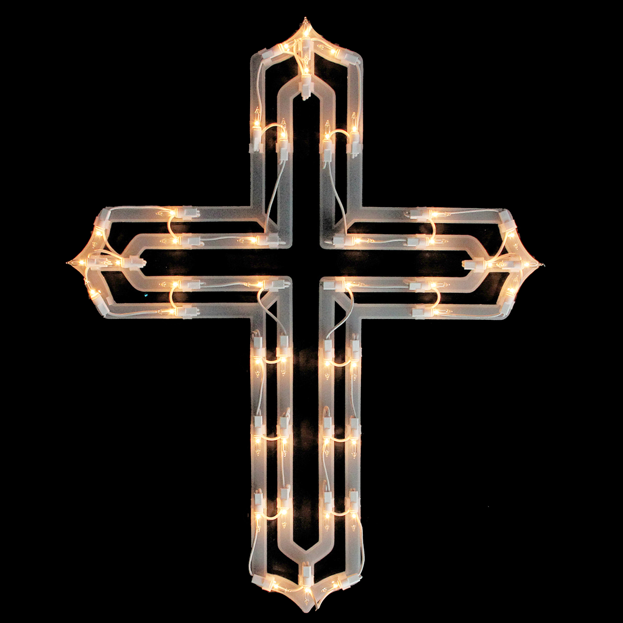 """Impact Innovations 20"""" Lighted Religious Cross Easter Spring Window Silhouette Decoration"""