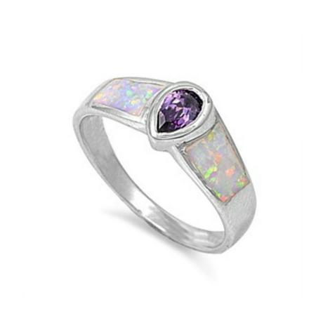 925 Sterling Silver Amethyst Color Lab opal Gem Ring Bi Color Tourmaline Gem