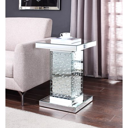 Acme Nysa Wooden Frame End Table in Mirrored and Faux Crystals ()