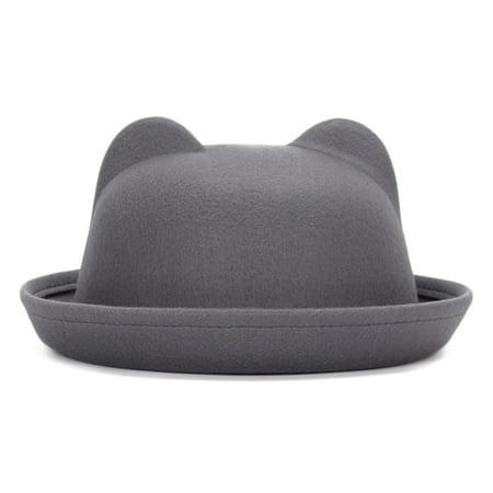 9405729e245 Women Fashion Cute Cat Ears Basin Cap Vintage Flanging Fedora Bowler Hat -  Walmart.com
