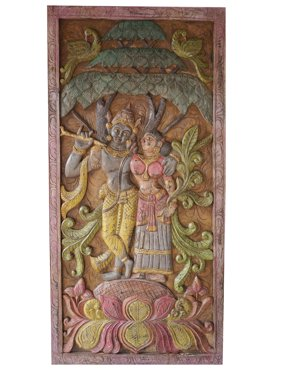 Mogul Vintage Barn Door Hand Carved Krishna Radha Carving spiritual Sculpture, Eclectic Interior
