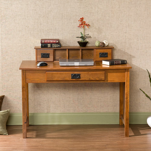Amarillo Mission Style Writing Desk with Hutch, Oak