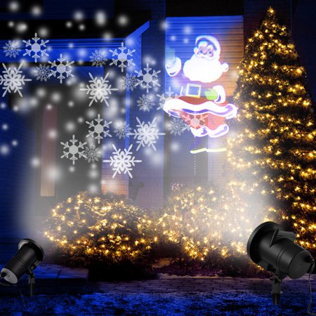 2pcs Combined Projector :LED Moving Flashing 3D White Snowflake Projector + 4pattern Santa Claus Landscape Projector Lamp Light  for Holiday Christmas Tree Garden Patio Stage House Decoration