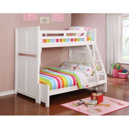 Edith Bunk Bed Twin Over Full Louvered Panels White