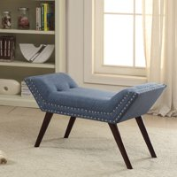 Fabric Bench with Stud Detail, Blue