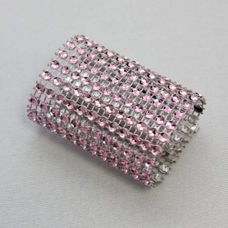 YCC - Dazzling Diamond Rhinestone Chair Sash Slips / Napkin Rings Pink ()