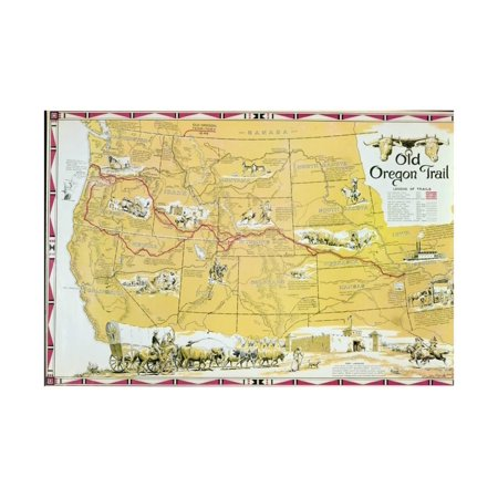 Map of the Old Oregon Trail Print Wall Art By American School - Oregon Art Glass