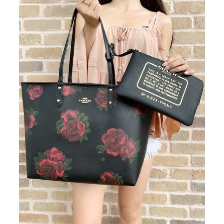 Coach F36658 F37807 Reversible City Tote Black Jumbo Floral