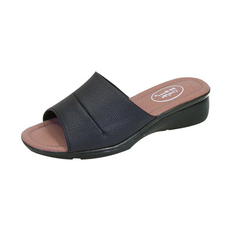 Extra Wide Leather Sandals - 24 HOUR COMFORT Stacy Women Extra Wide Width Slide Faux Leather Upper Open-Toe Sandal BLACK 5