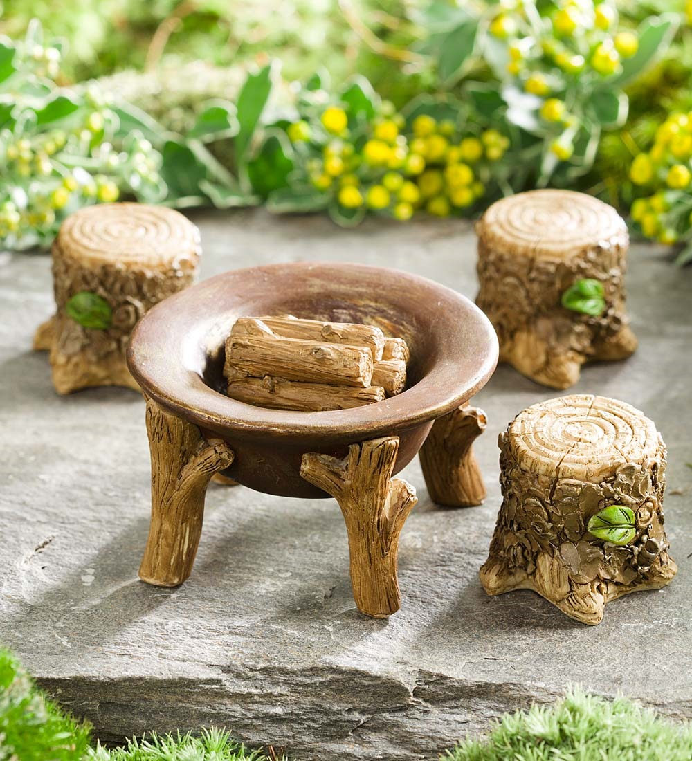 Miniature Fairy Garden Fire Pit Set