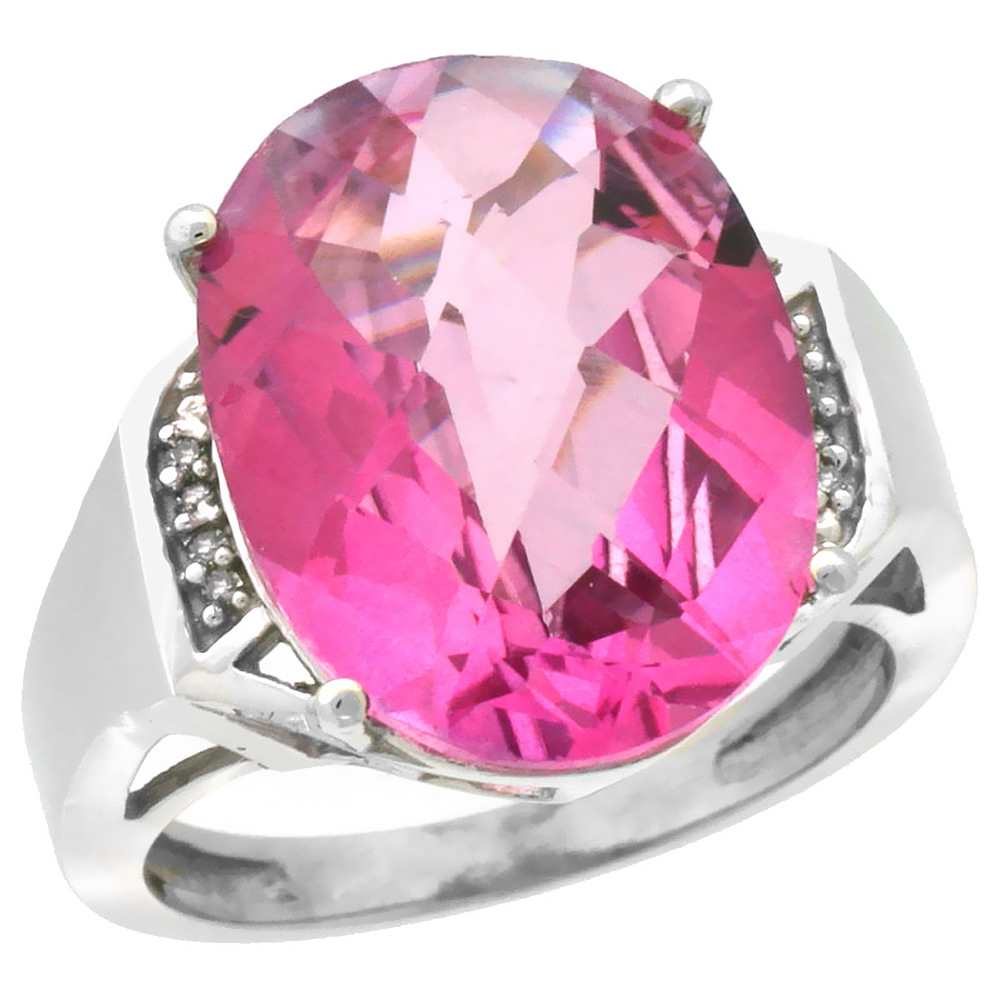 14K White Gold Diamond Natural Pink Topaz Ring Oval 16x12mm, size 6 by Gabriella Gold
