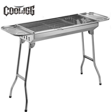 Cooligg Portable Folding Charcoal Gas BBQ Grill Set Stainless Steel Barbecue Grill for Outdoor Picnic Camping Cooking, Nice Weekend
