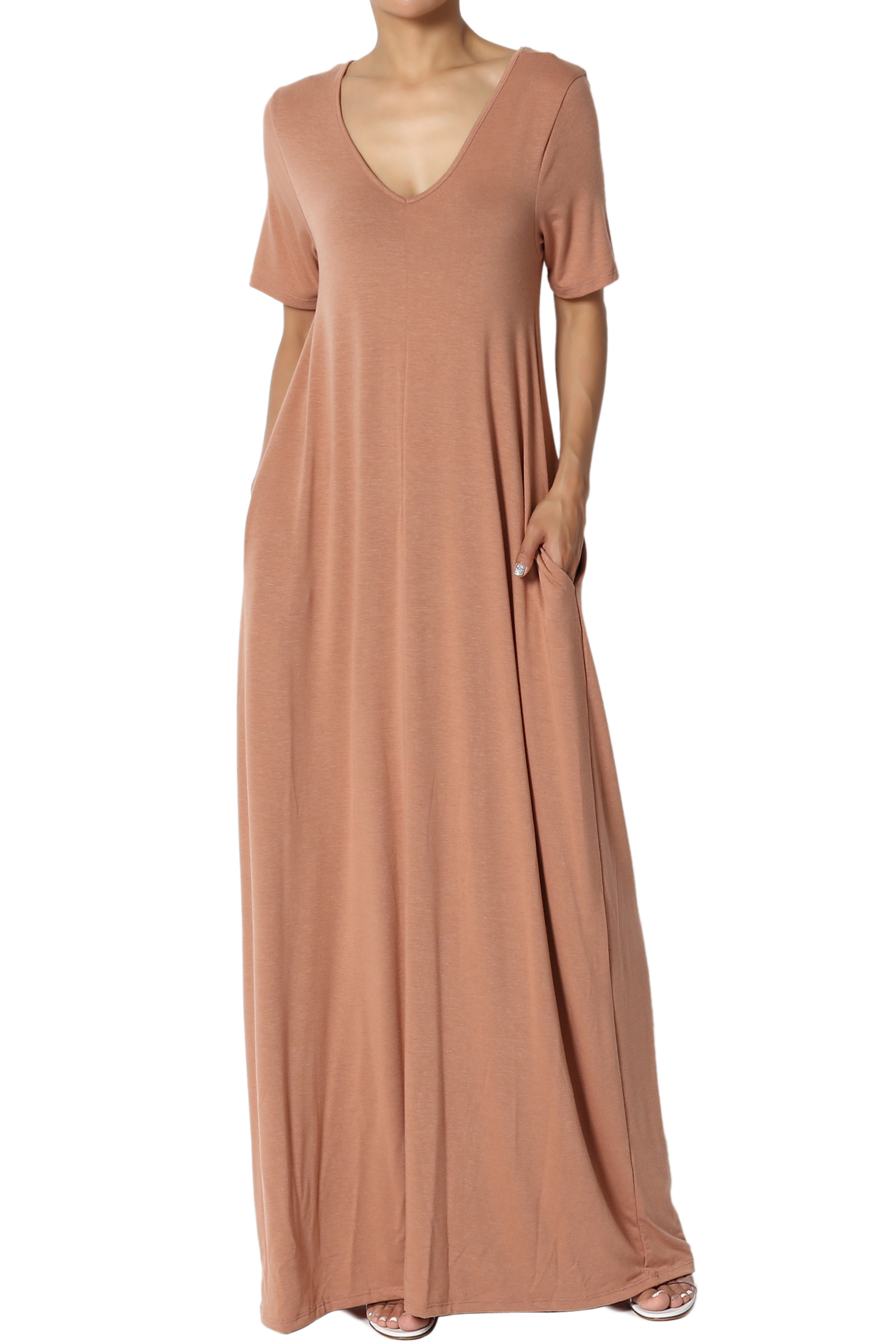 TheMogan S~3X 1//2 Short Sleeve Shirred Viscose Jersey Round Neck Long Maxi Dress