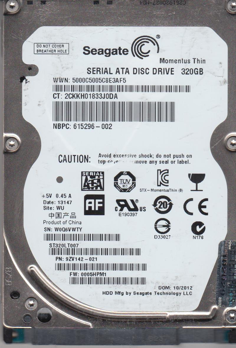 ST320LT007, W0Q, WU, PN 9ZV142-021, FW 0005HPM1, Seagate 320GB SATA 2.5 Hard Drive by Seagate