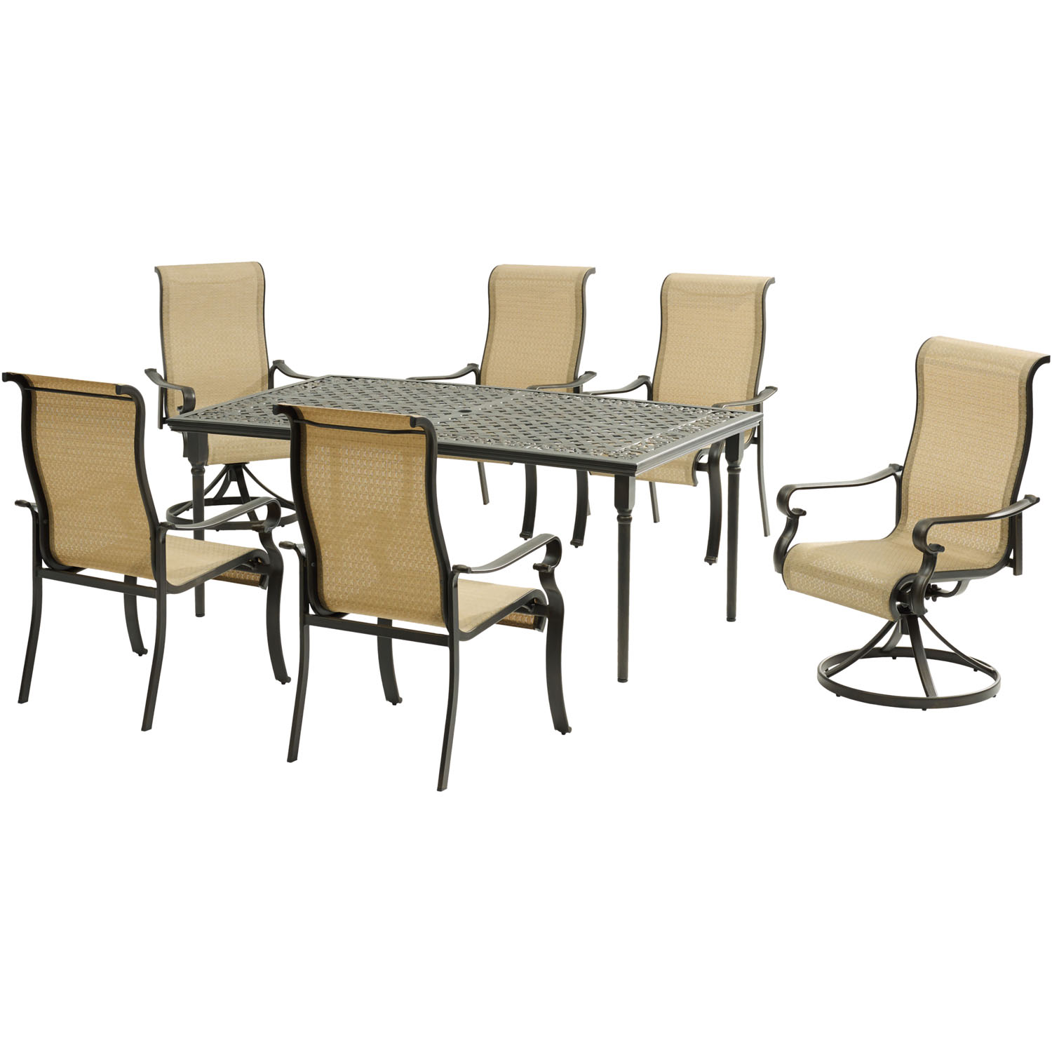 "Hanover Brigantine 7-Piece Dining Set with a 40"" x 70"" Cast-Top Dining Table, 2 Sling Swivel Rockers, and 4 Sling Dining Chairs"