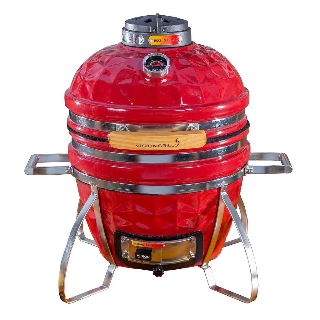 vision grills diamond cut cadet kamado grill color crimson red - Kamado Grills