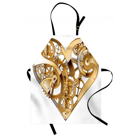 Industrial Apron Mechanic Heart Physical Bodies Complex Structure of Love Techno Romance Print, Unisex Kitchen Bib Apron with Adjustable Neck for Cooking Baking Gardening, Golden White, by (Mechanix Apron)