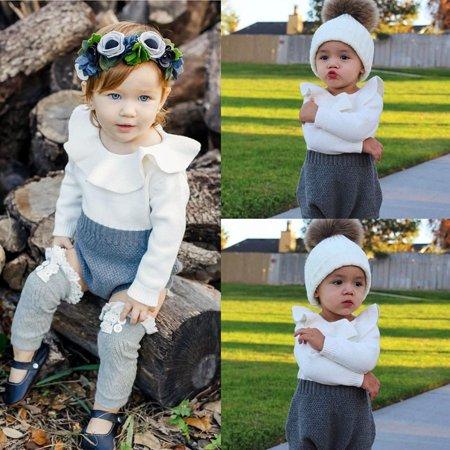 UK Stock Newborn Baby Girls Wool Knitting Tops Romper Shorts Outfits Set 0-24M