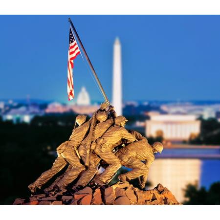 Digital Composite Iwo Jima Memorial With Washington Monument In The Background Arlington National Cemetery Arlington Virginia Usa Poster Print