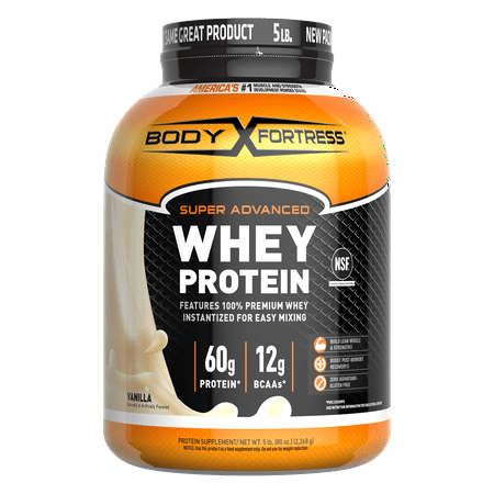 Body Fortress Super Advanced Whey Protein Powder, Vanilla, 60g Protein, 5lb, 80oz (Packaging May Vary)
