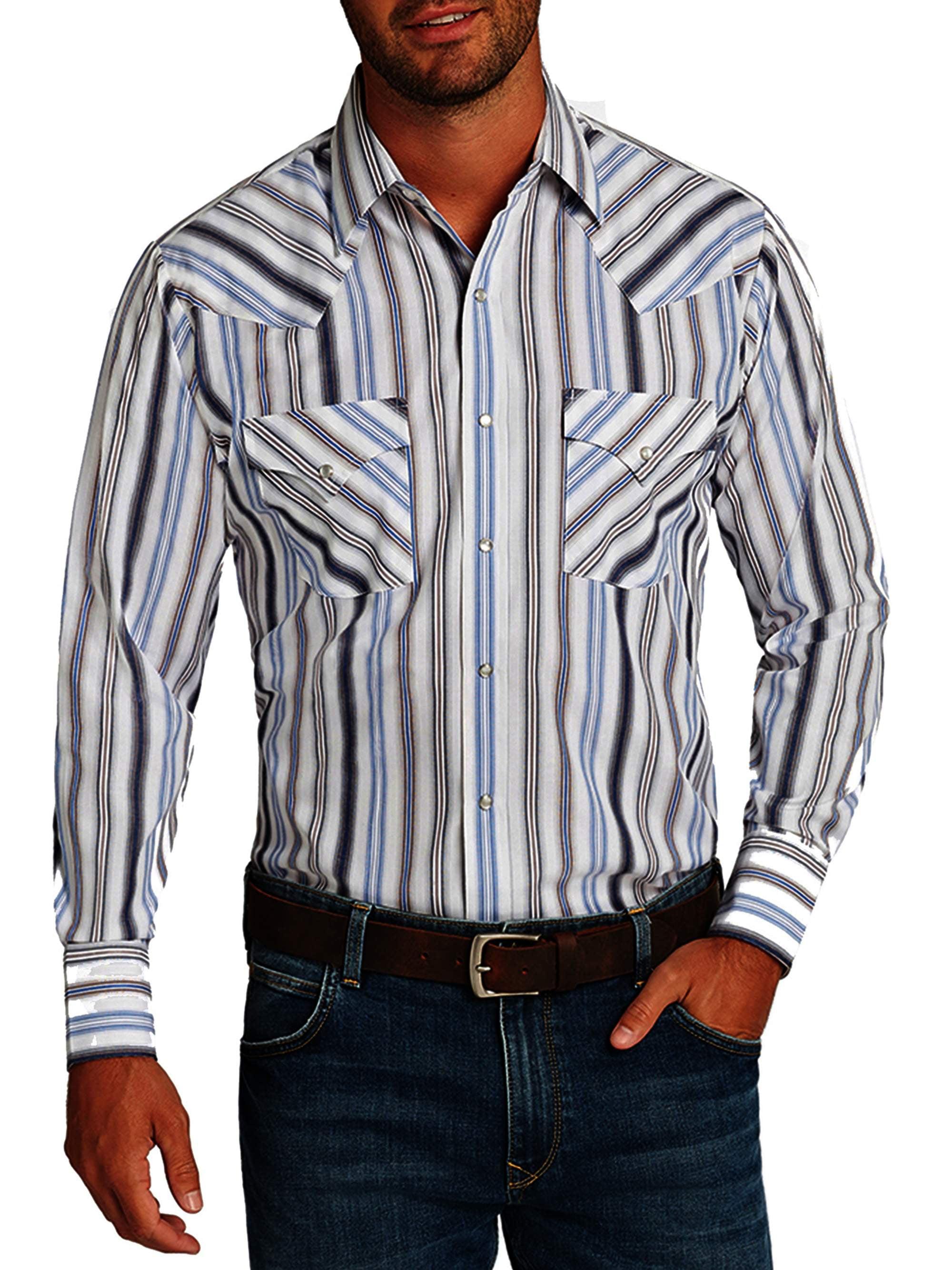 ELY CATTLEMAN Mens Long Sleeve Stripe Western Shirt