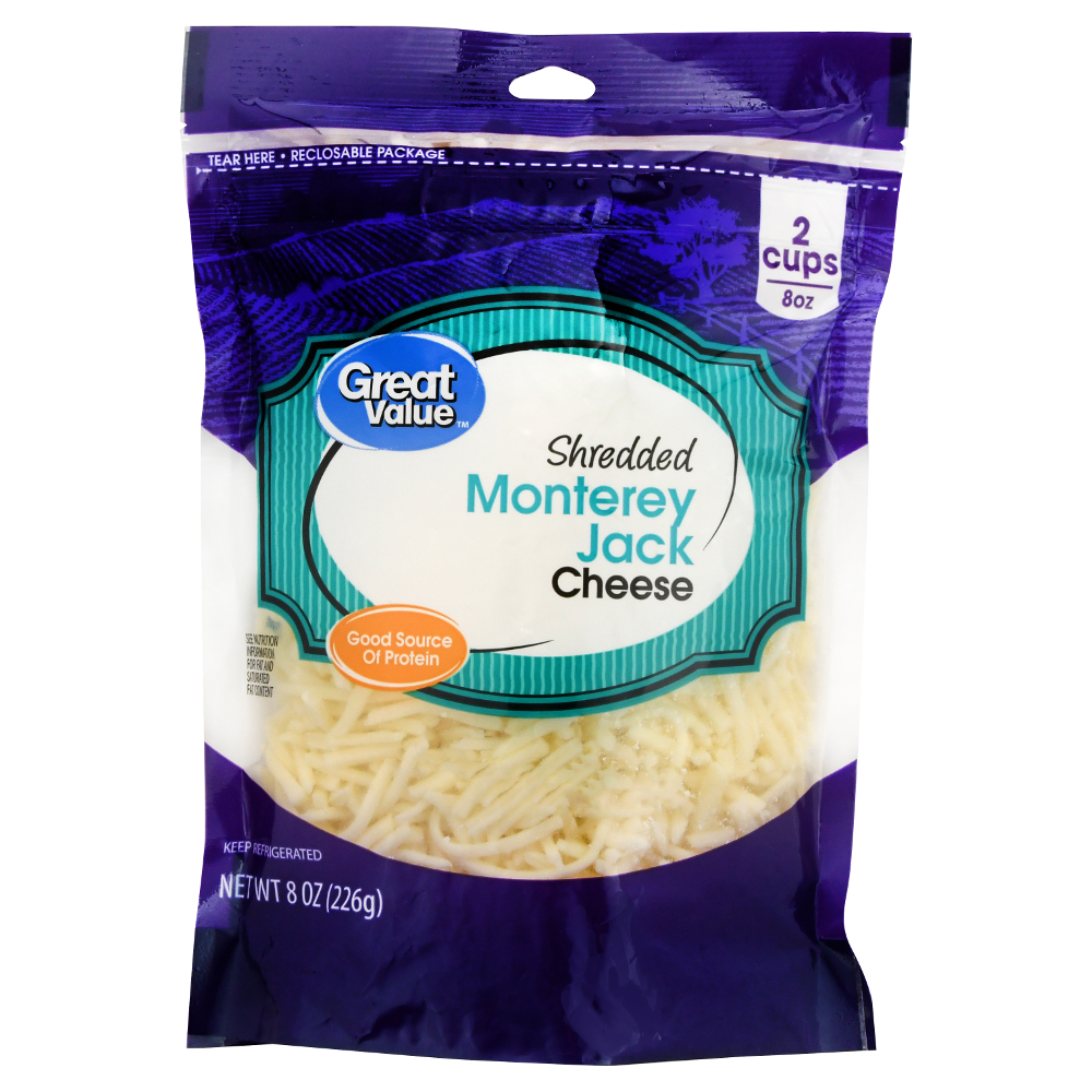Great Value Shredded Monterey Jack Cheese, 8 oz