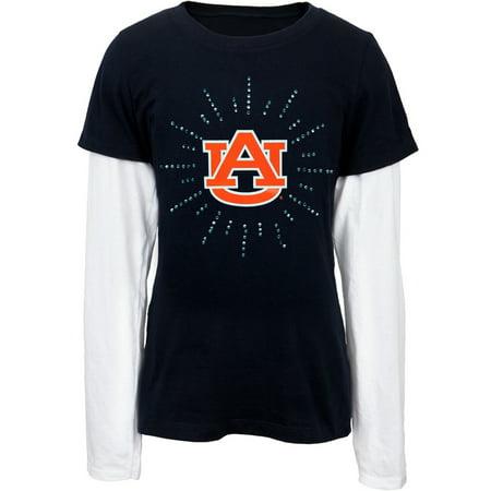 Auburn Tigers   Rhinestone Ray Logo Girls Youth 2Fer Long Sleeve T Shirt