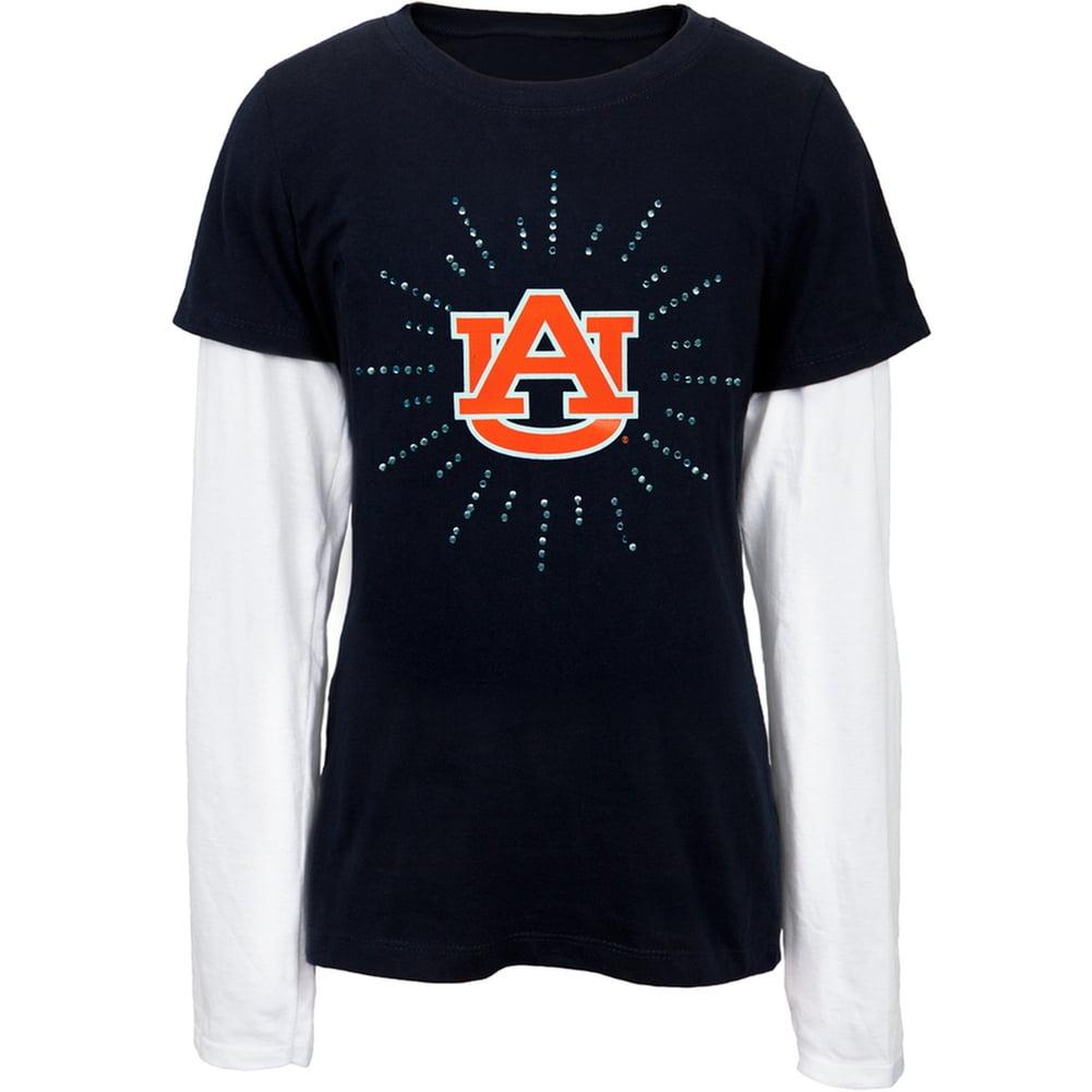 Auburn Tigers - Rhinestone Ray Logo Girls Youth 2fer Long Sleeve T-Shirt