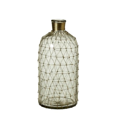125 Clear Glass With Gold Wire Netting Small Decorative Bottle