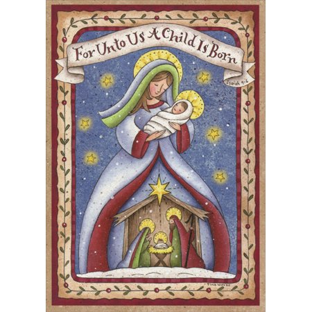 LPG Greetings Madonna and Child Nativity Box of 16 Religious Christmas Cards - Religious Christmas Card Sayings