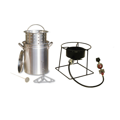 King Kooker 29-Quart Turkey Frying Propane Outdoor Cooker Package with Basket and Battery Operated Timer