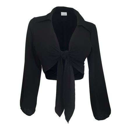 eVogues Plus Size Front Tie Off Long Sleeve Cropped Chiffon Blouse Black