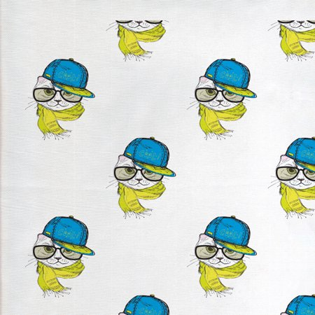 Hip Hop Fabric by The Yard, Fashion Cat Wearing a Cap Scarf and Glasses Sketch Pattern, Decorative Fabric for Upholstery and Home Accents, by Ambesonne