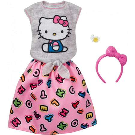 Barbie Hello Kitty Gray Top/Pink Skirt Fashion](Hello Kitty Voodoo Doll)