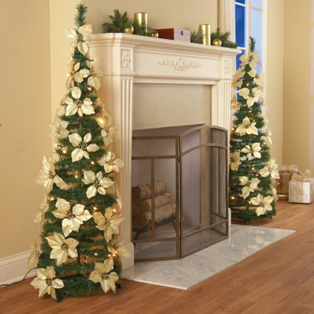 Collections Etc. Lighted Holiday Poinsettia Pull-Up Christmas Tree with White Poinsettias, White Lights and Greenery ()