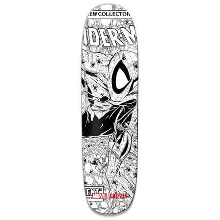 Grizzly Griptape Marvel Spider-Man Pen and Inked Cruiser Skate Deck  Black/White