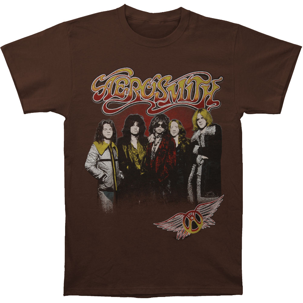 Aerosmith Men's  Aero Distresses Slim Fit T-shirt Brown