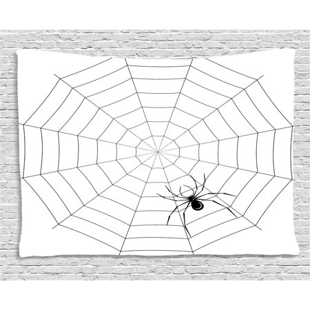 Spider Web Tapestry, Toxic Poisonous Insect Thread Crawly Malicious Bug Halloween Character Design, Wall Hanging for Bedroom Living Room Dorm Decor, 60W X 40L Inches, Black White, by Ambesonne (Character For Halloween)