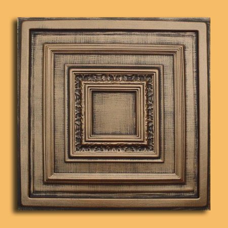 Antyx Antique Bronze Black PVC Ceiling Tiles for Drop in Grid System (10 pack)