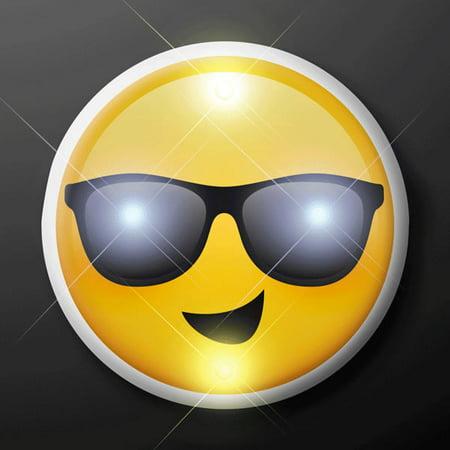 Smiling Cool Dude Sunny Days Sunglasses Emoji Flashing Body Light Lapel - Cool Sunglasses Emoji