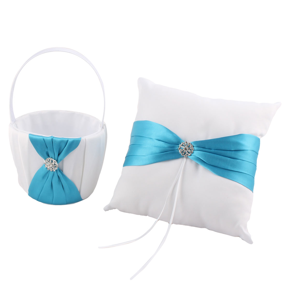 Wedding Party Satin Butterfly Knot Decor Flower Basket Ring Pillow Blue 2 in 1 by Unique-Bargains