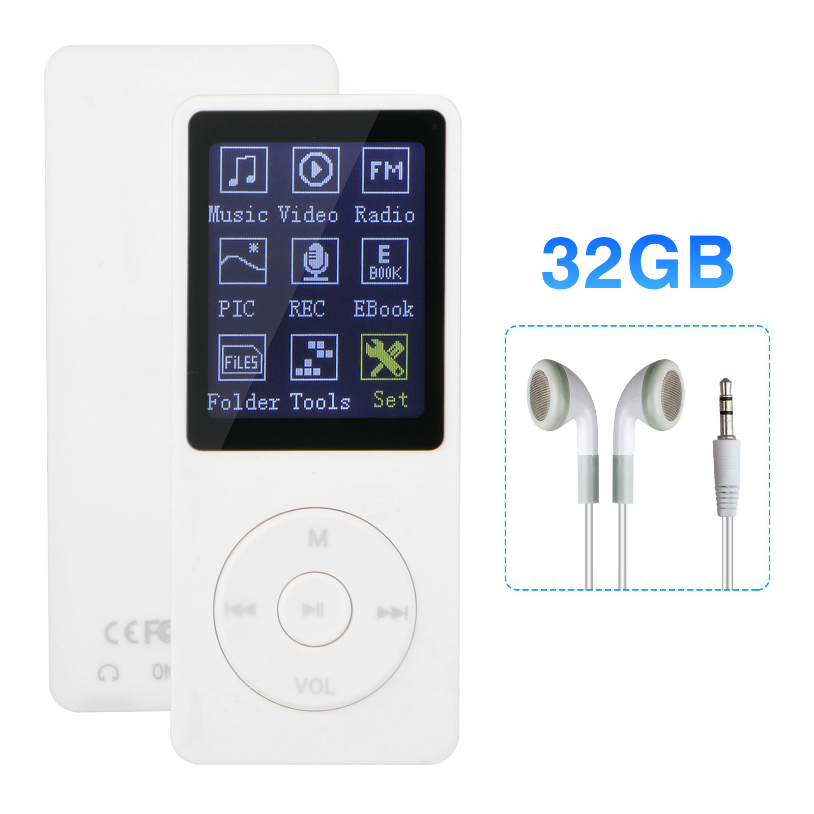 TSV MP3 MP4 Player, Support UP to 32GB TF Card, Portable Digital Music Player, Rechargeable Battery, Ultra Slim Large LCD Screen