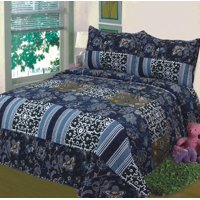 Fancy Linen 3pc King Bedspread Bed Cover Floral Navy Blue Black New