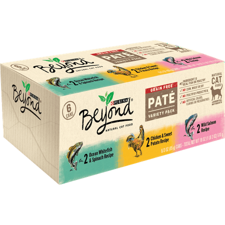 (6 Pack) Purina Beyond Grain Free, Natural Pate Wet Cat Food, Grain Free Pate Variety Pack, 3 oz. Cans