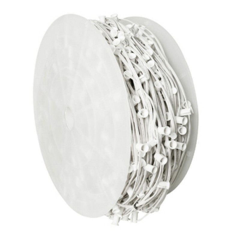 "1000' C9 Commercial Socket Spool; 6"" Spacing; White Wire"