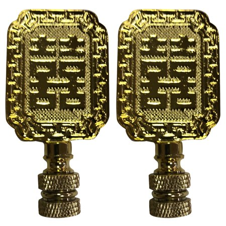 Royal Designs Chinese Joy Symbol Lamp Finial for Lamp Shade- Polished Brass Set of (Chinese Brass)