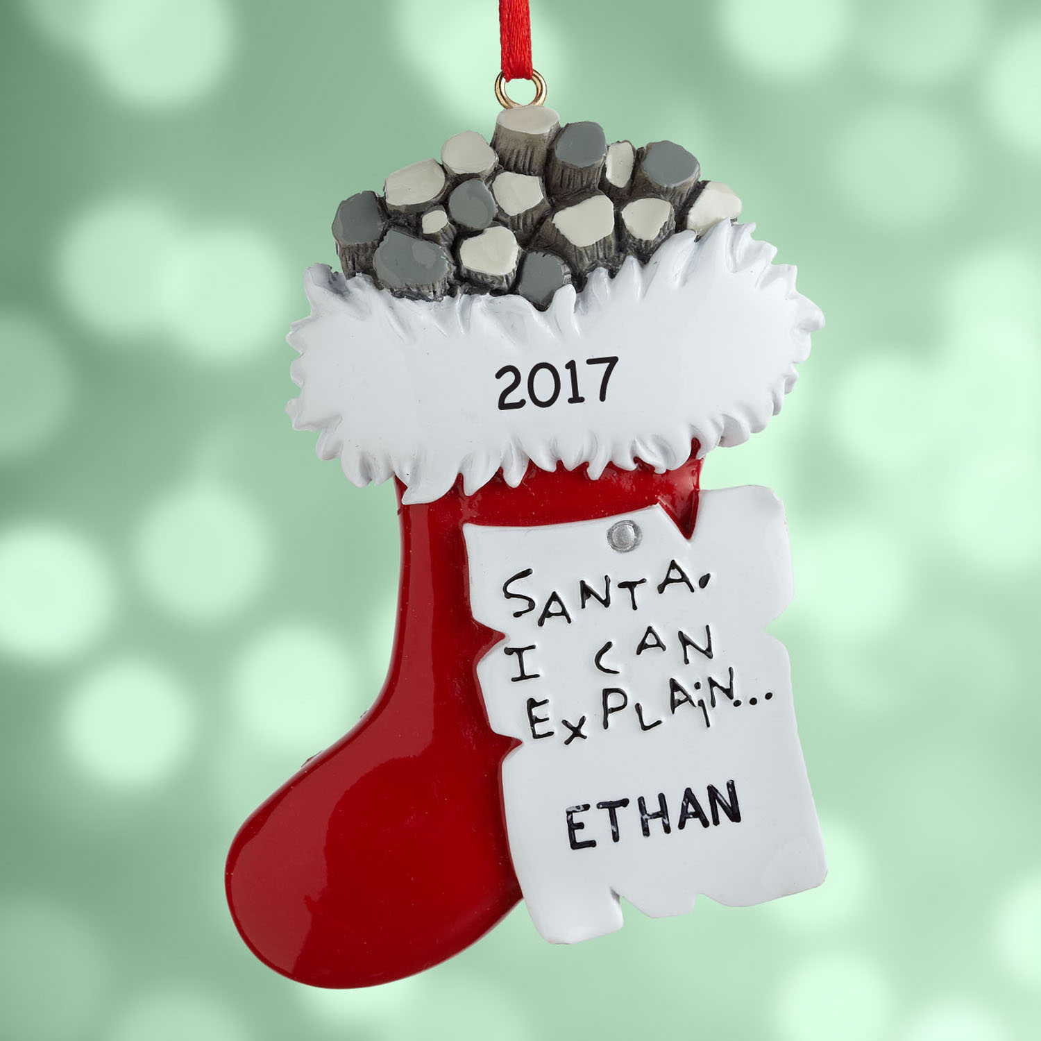 Personalized Coal Stocking Christmas Ornament