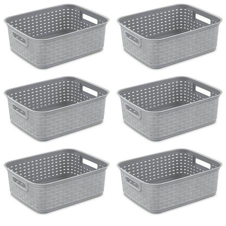 Sterilite Short Weave Wicker Pattern Storage Container Basket, Gray (6 Pack) ()